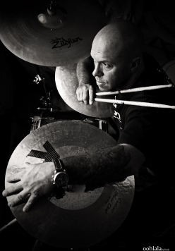 black and white portrait of drummer, lifestyle photography