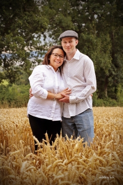 portrait of a happy couple in the countryside