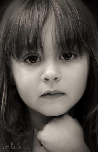black and white portrait of little girl