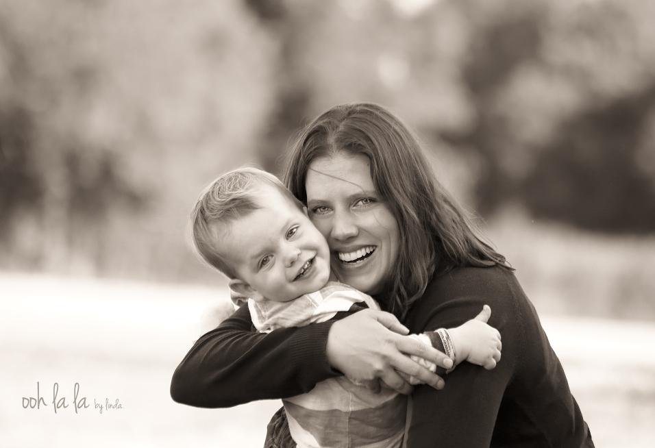 lifestyle portrait of mother and son, black and white