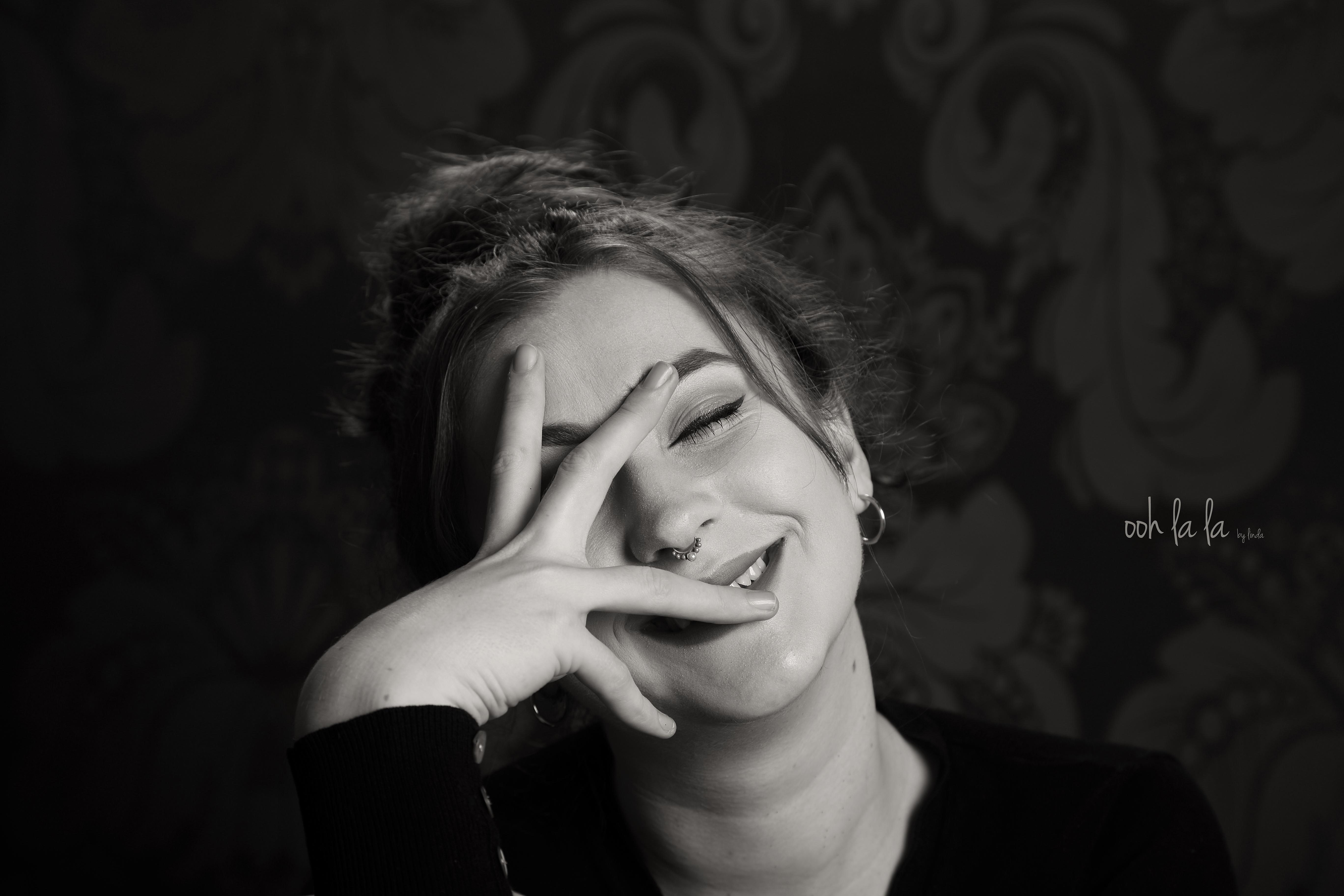 Black and white candid portrait