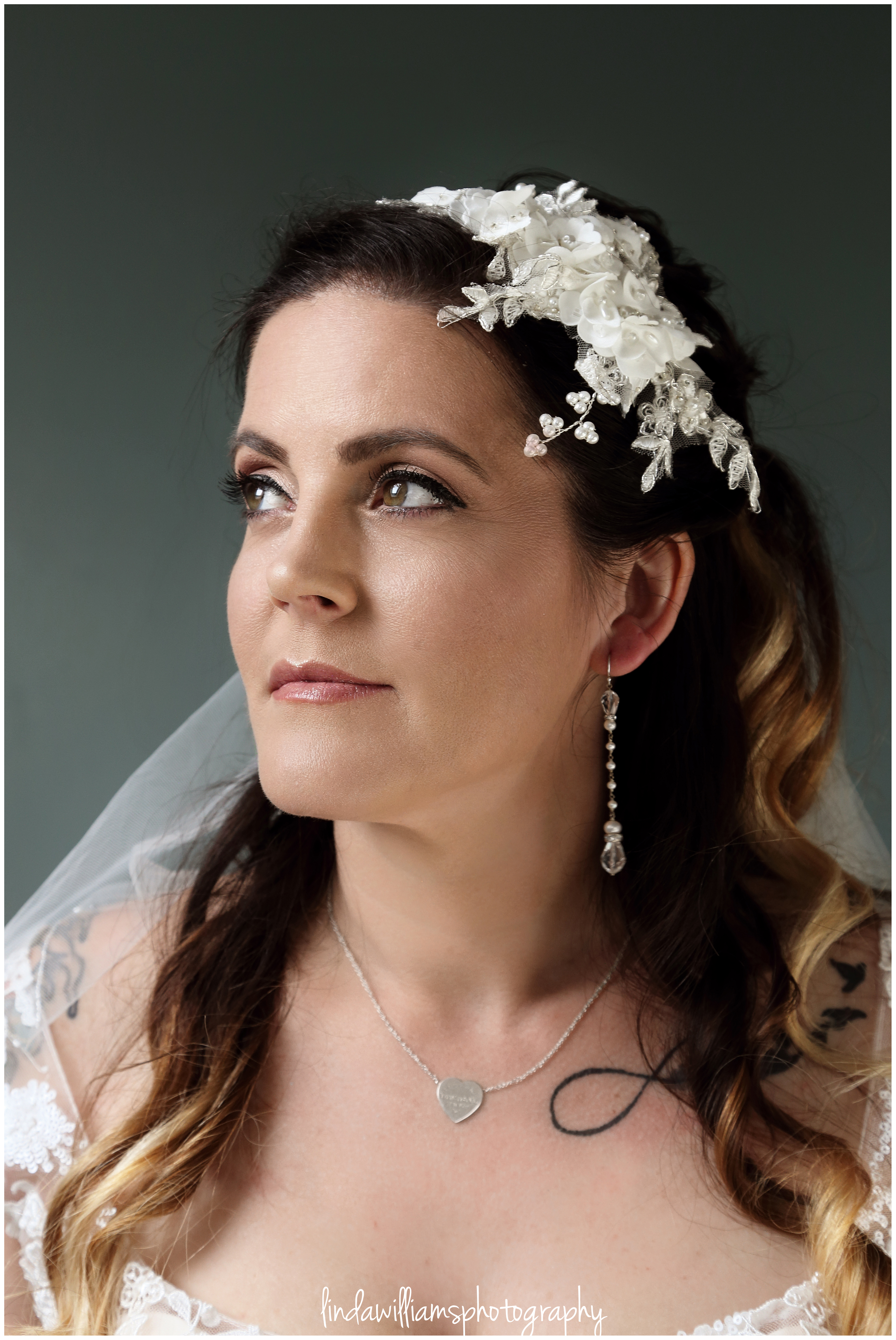 Portrait of bride in her Caldicot home