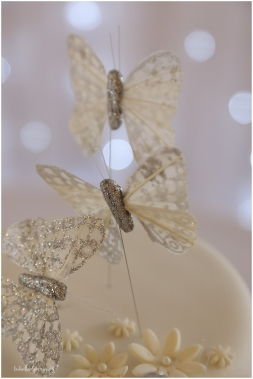 Close up of butterfly detail on a wedding cake