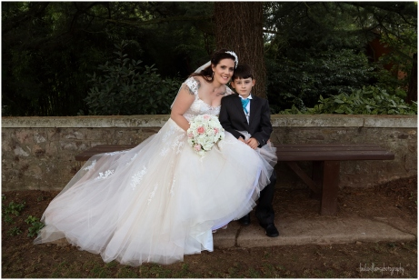 Bride with her young son