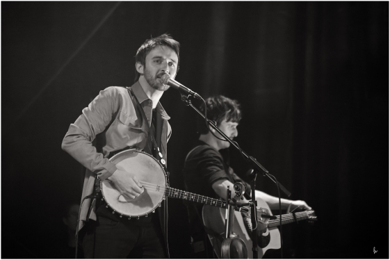 black and white photograph of folk band