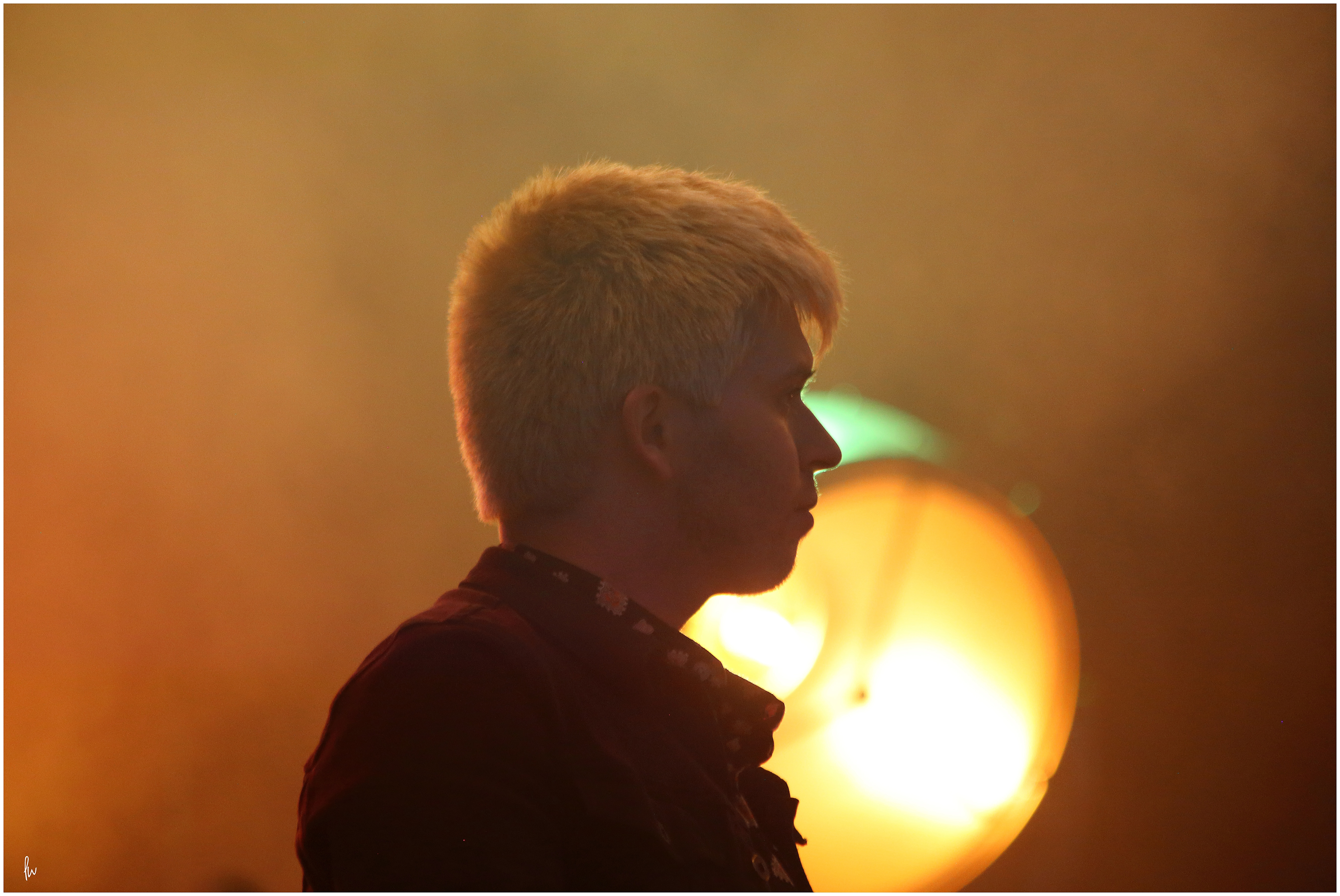 backlit photograph of musician on stage