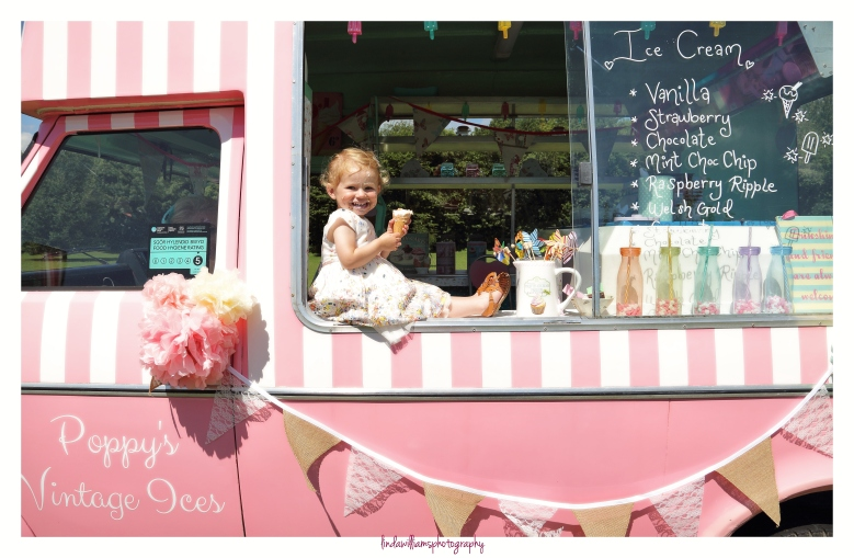 Little girl with ice cream and ice cream van