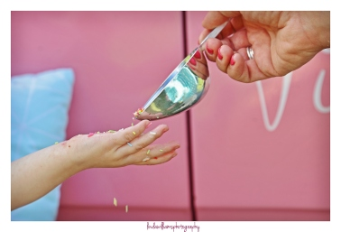 sprinkles on a childs hand