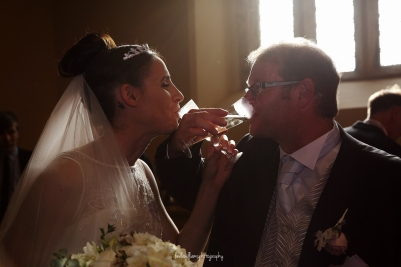 Toasting the bride and groom
