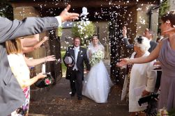 Bride and groom and confetti