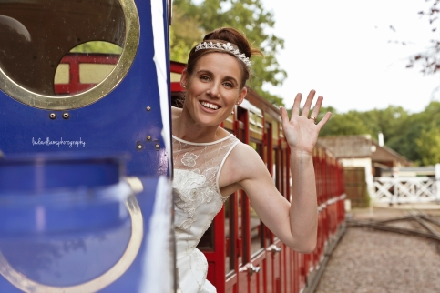 Bride waving from train