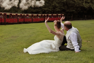 Bride and groom at Perrygrove Railway