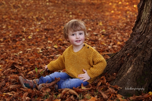 photo of little boy in autumn leaves