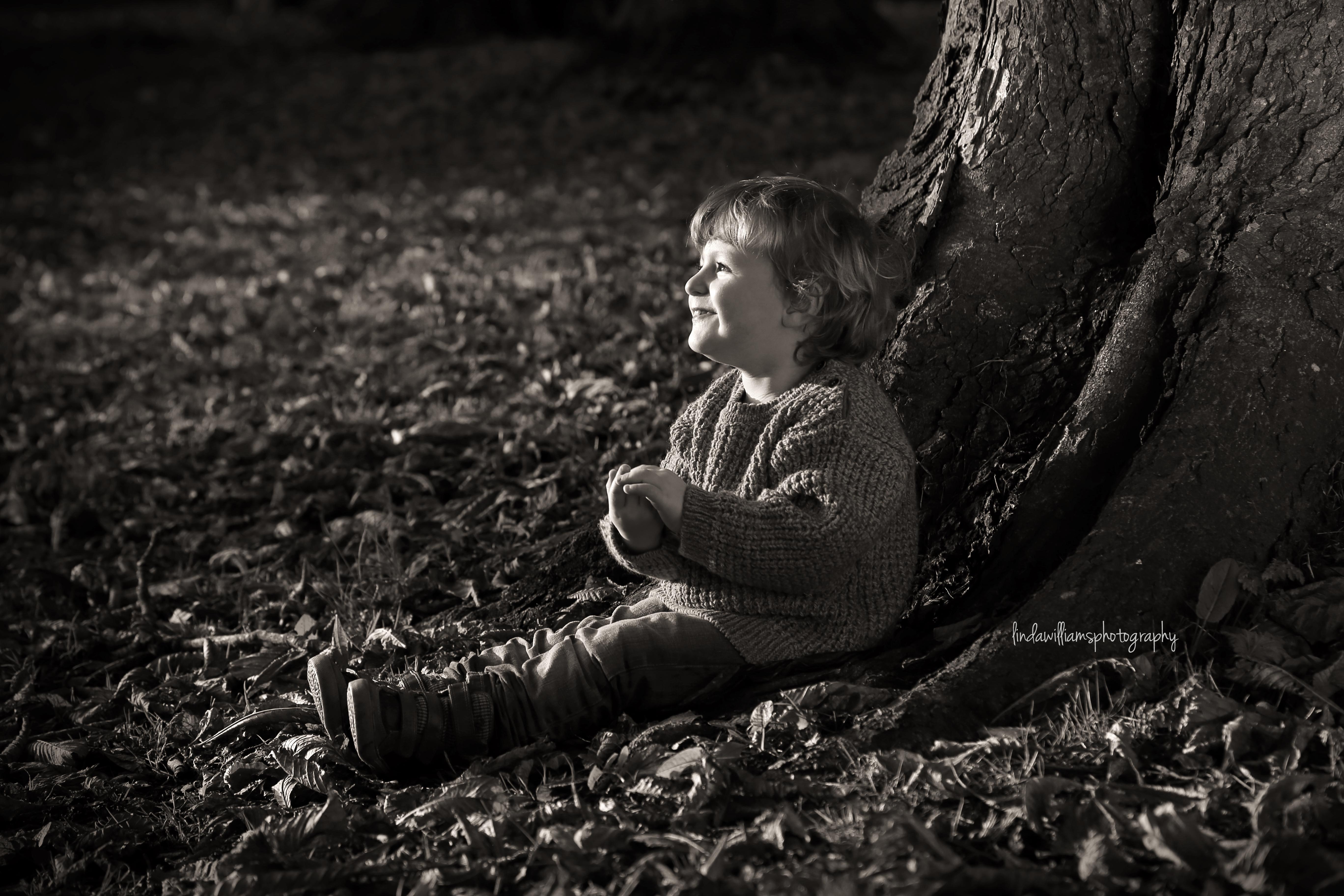 black and white portrait of little boy