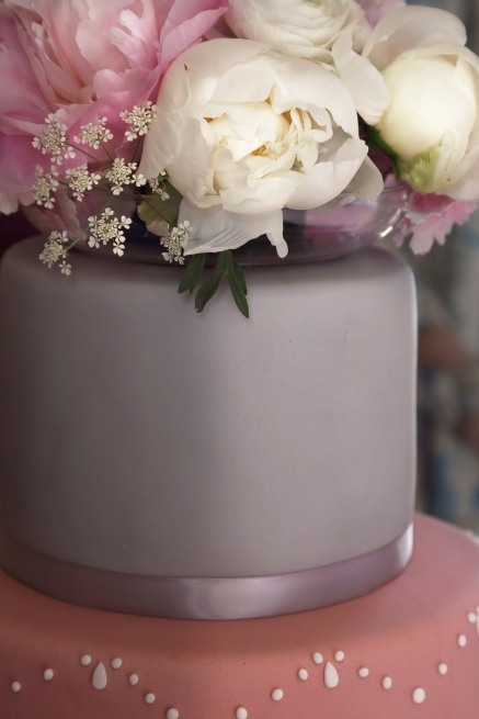 wedding cake and peonies