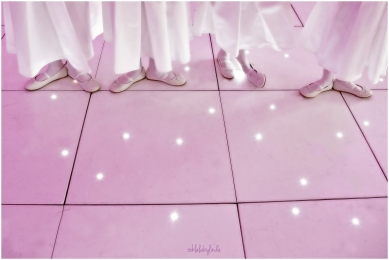bridesmaid ballet shoes on sparkly dance floor Redwick Hall