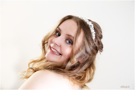 portrait of smiling bride at home South Wales
