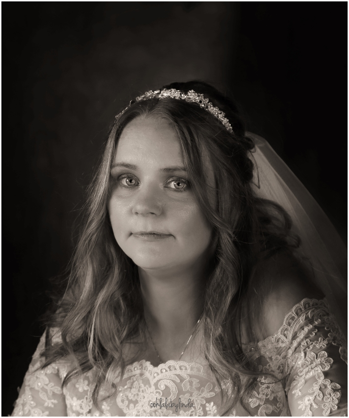 black and white portrait of a bride South Wales