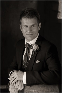 black and white portrait of bridegroom South Wales