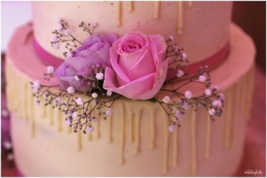 wedding cake with pink roses Redwick Hall