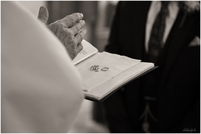 wedding rings during service in Redwick church