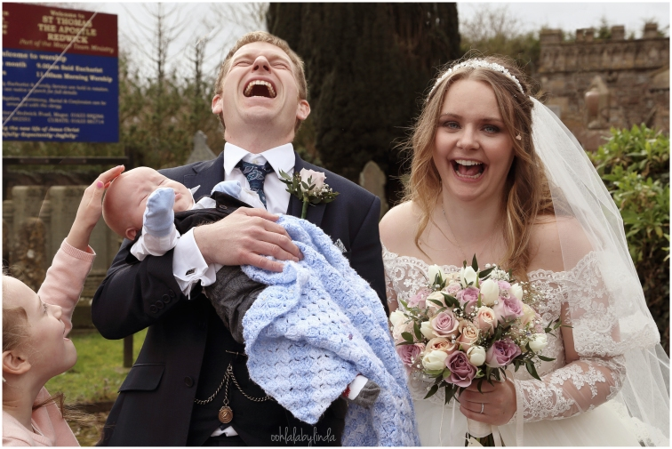Bride and Groom outside Redwick Church