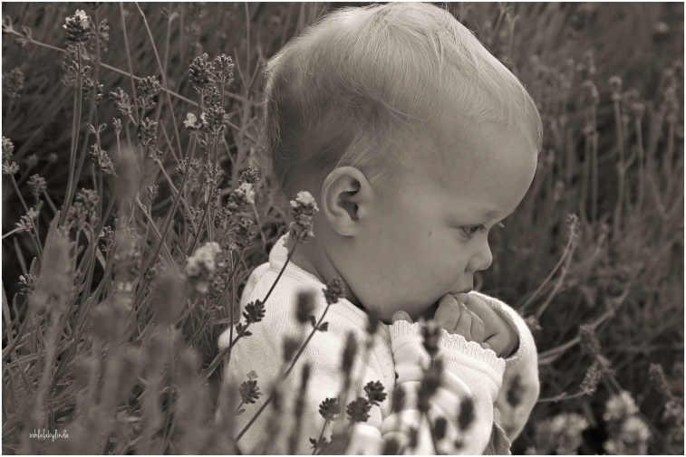 black and white shot of toddler