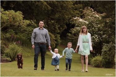 Family walking in garden