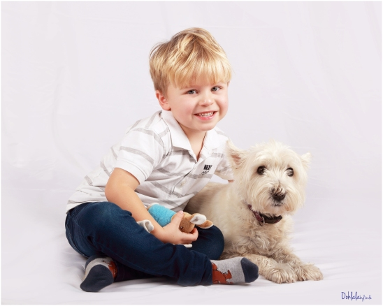 little boy with his dog